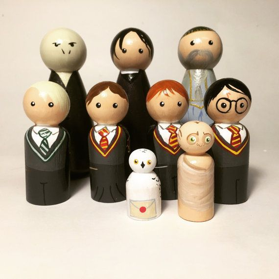 Harry Potter Peg People by mozydoats on Etsy