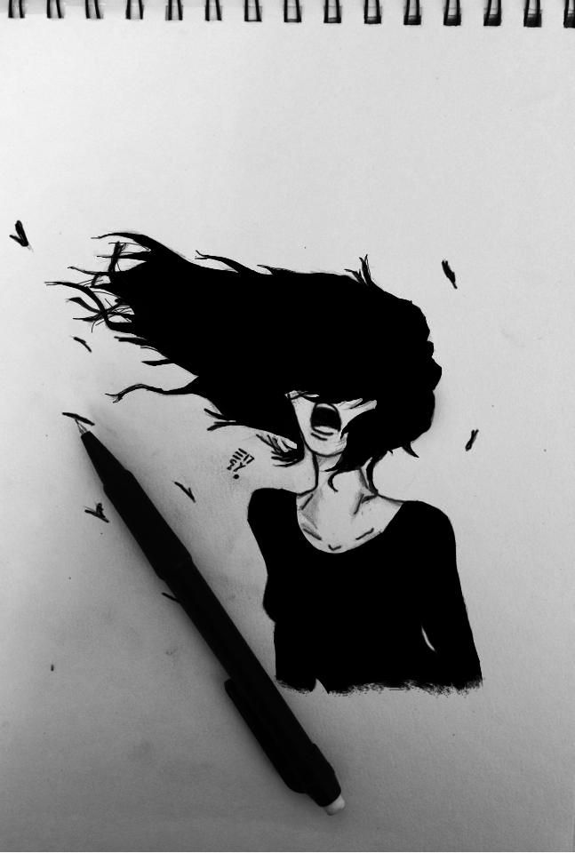 Screaming girl - Sketching by Mellouki Ucef in My Scrapbook at touchtalent 78912