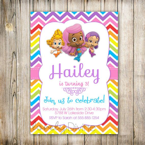 Bubble Guppies Birthday Invitation, Bubble Guppies Invite, Bubble Guppies Invitation, Molly, Chevron, 1st Birthday, 2nd, 3rd, 4th, PRINTABLE