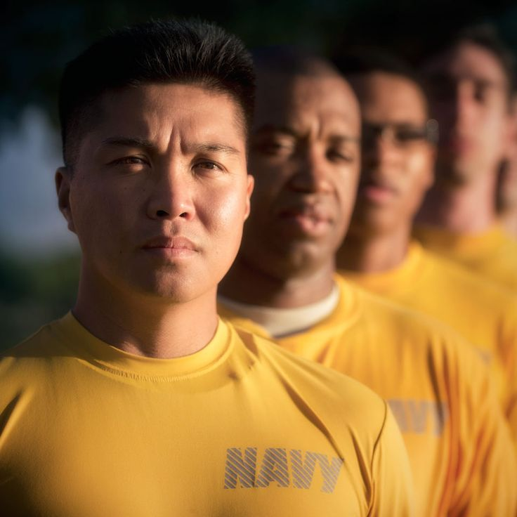 US Navy servicemen at physical training during the US Navy Recruiting Command in October 2012.