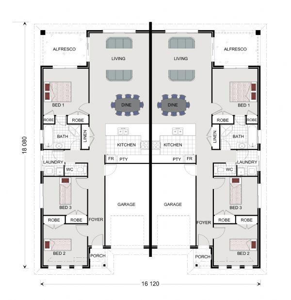 28 best floor plan images on pinterest floor plans for Duplex beach house plans