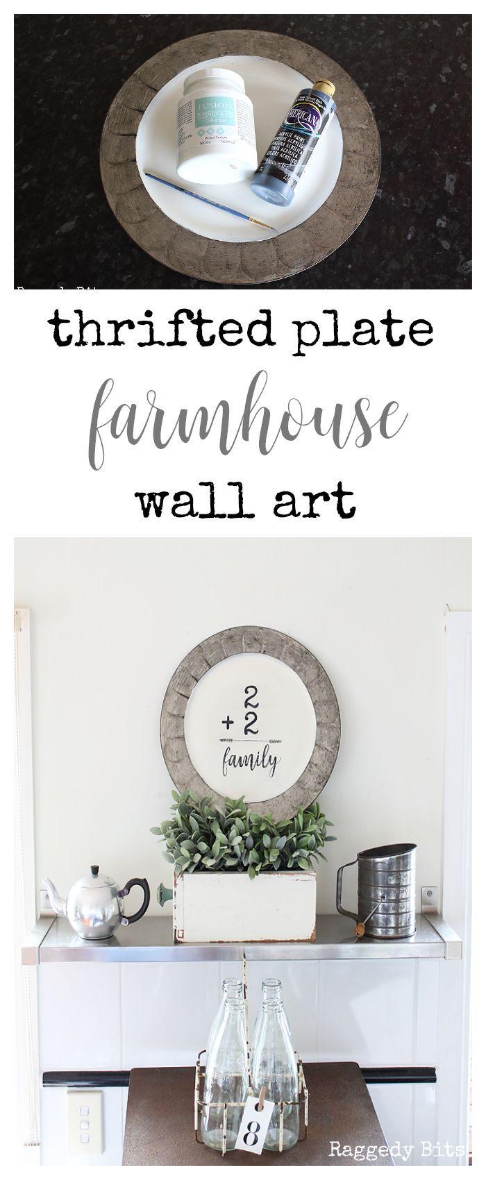 A fun easy Thrifted Plate Farmhouse Wall Art to make | www.raggedy-bits.com | #diy #farmhouse #repurpose #painted #wallart