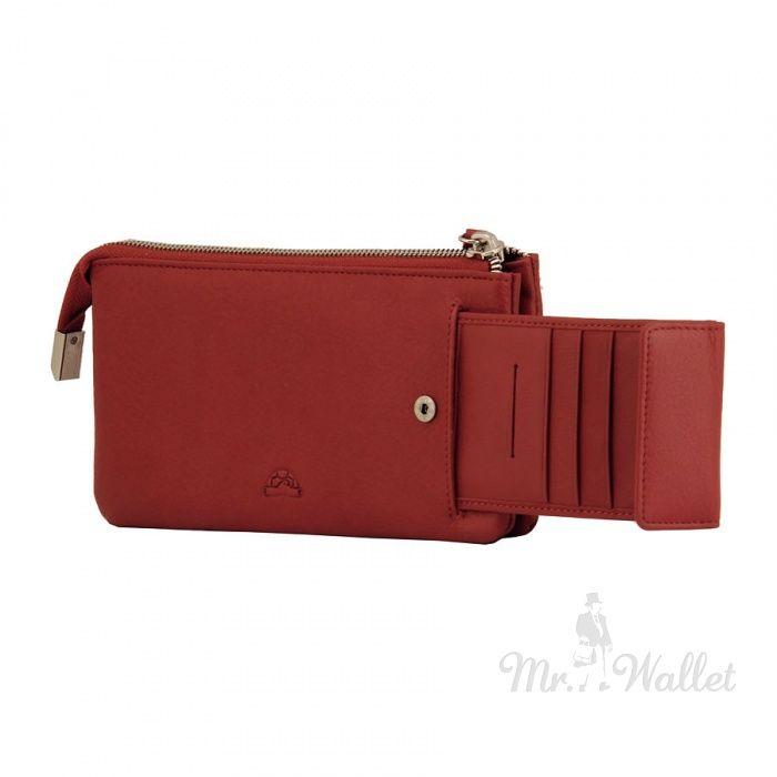 Кожаное женское портмоне-клатч красное Tony Perotti Ct2651rosso