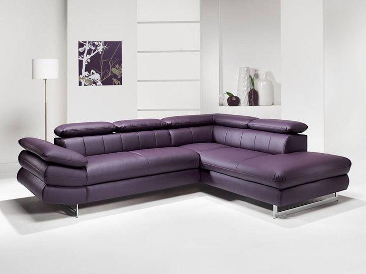 Canap d 39 angle en pu et tissu violet esteban 7 canap d - Canape convertible violet ...