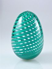 Venetian Style hand blown glass egg, by Vermont Glassblower Michael Egan