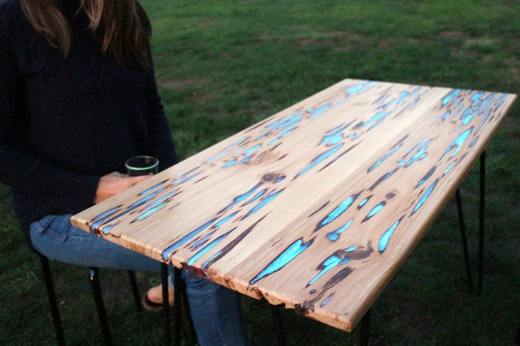 worm wood decoration | Instructables editor Mike Warren made a rustic glow-in-the-dark table ...