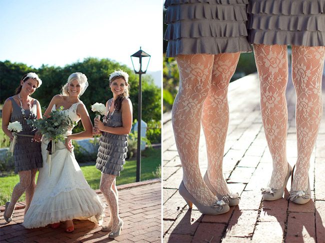 love how the tights mimic the lace of the bride's dress!!