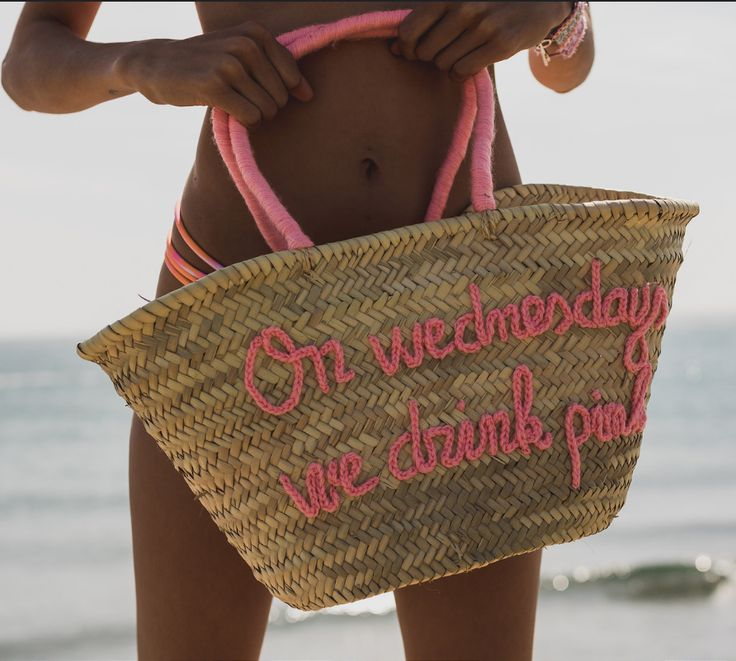 ON WEDNESDAYS WE DRINK PINK - personalised straw bag by BOMBOM.MOROCCO available online on Boulesse