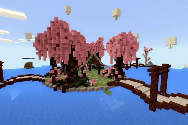 Minecraft Pe Build 8 Cherry Blossom Pa Minecraft Garden Minecraft Crafts Minecraft Pe