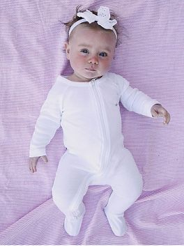 Organic Cotton Long Sleeve Footed Romper - Simplistic and versatile design with a zip from bottom to top for easy changes