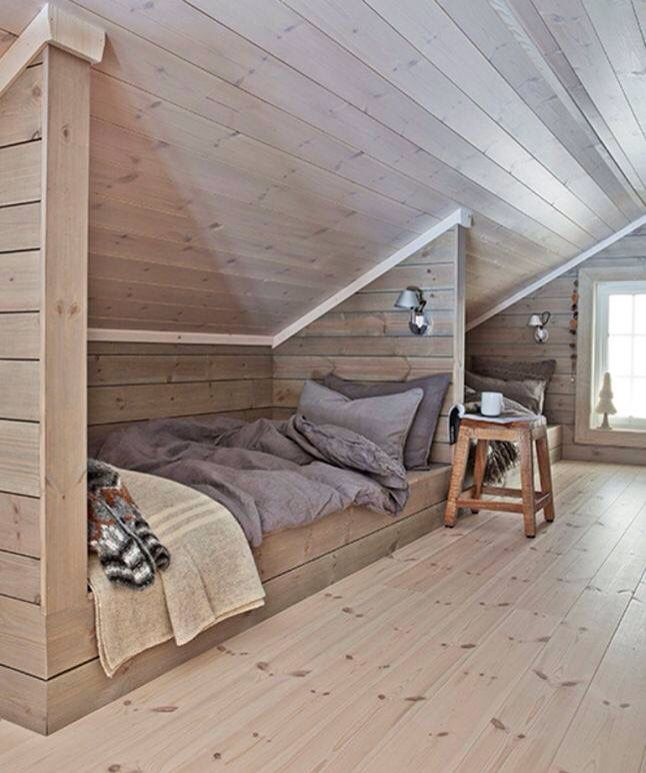 Upstairs in a salt box style camp