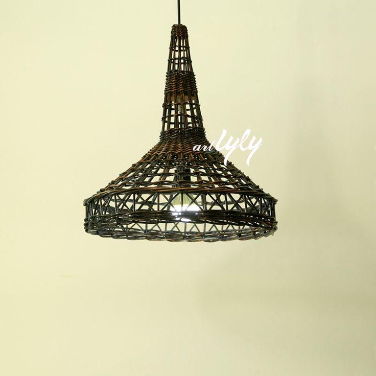 woven wicker lamp shades in rustic design Eiffel tower shape