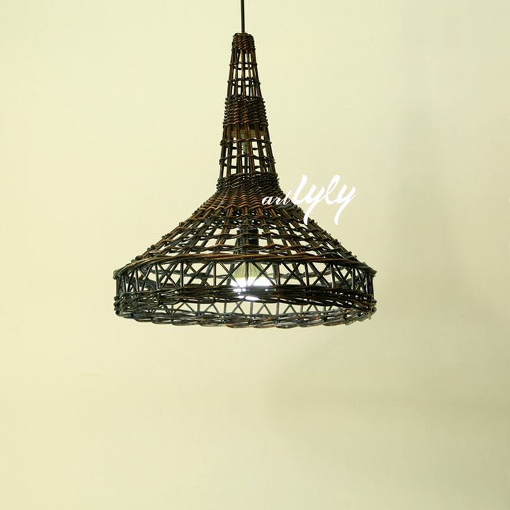 woven wicker lamp shades in rustic design Eiffel tower shape