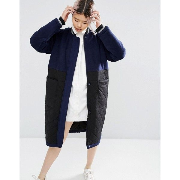 ASOS WHITE Wool Parka With Quilted Panel (125 CAD) ❤ liked on Polyvore featuring outerwear, coats, navy, wool parka, zip wool coat, tall coats, quilted coat and navy parka