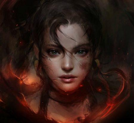 Fantasy lány - sötét, lány, Muju, Luminos, cheshyre, arc, piros, fantázia