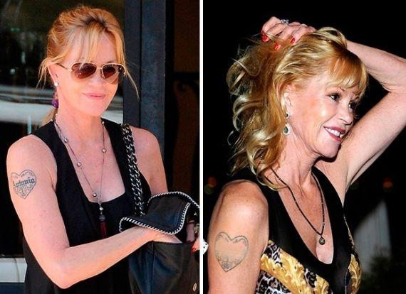 Após suposta traição de Antonio Banderas, Melanie Griffith pede divórcio e passa a usar maquiagem pesada para esconder tatuagem feita em homenagem ao astro espanhol