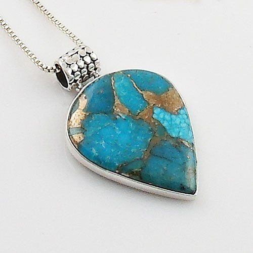 Genuine Blue Copper Turquoise set in solid Sterling Silver artisan crafted pendant. DETAILS: * Enhanced Blue Copper Turquoise Pendant * 7.2 g total weight * Set in SOLID .925 Sterling Silver * Stamped