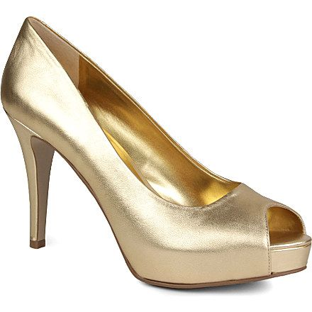 Metallic Gold Leather Wedding Shoes By Nine West