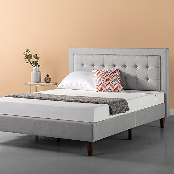 Zinus Upholstered Button Tufted Premium Platform Bed Strong Wood