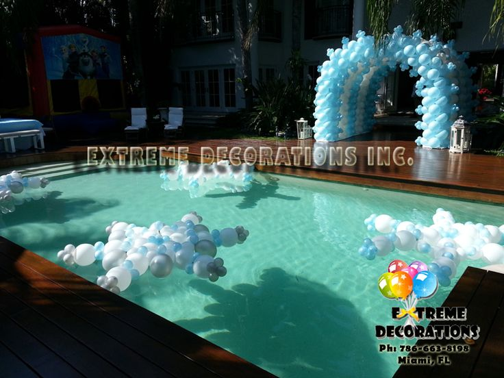 Balloon snowflakes pool decoration frozen balloon for Pool party dekoration