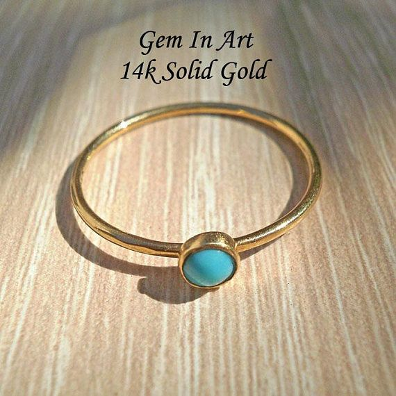14K Gold Turquoise RingSolid Gold Dainty Ring14K Solid Gold