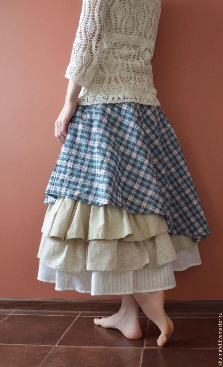"""Купить Длинная юбка из хлопка """"Вероника"""" - длинная юбка, юбка в стиле бохо, бохо"""