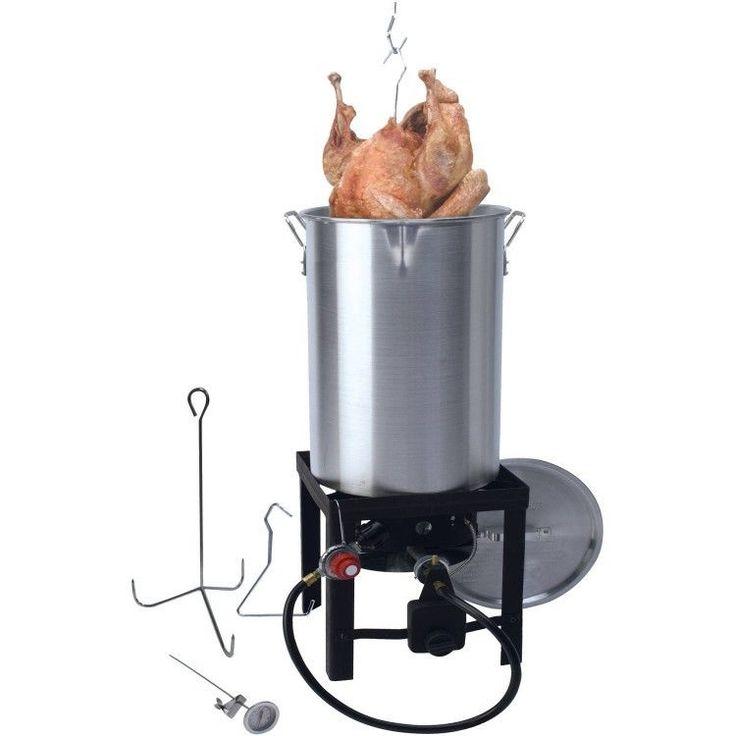 Turkey Fryer Pot Deep Fryer Propane Burner 30 Quart Kit Outdoor Stockpot Cooker #TurkeyFryer #PropaneBurner