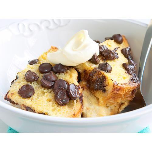 Choc-chip bread and butter pudding recipe.  #British #Pudding #Dessert #Chocolate