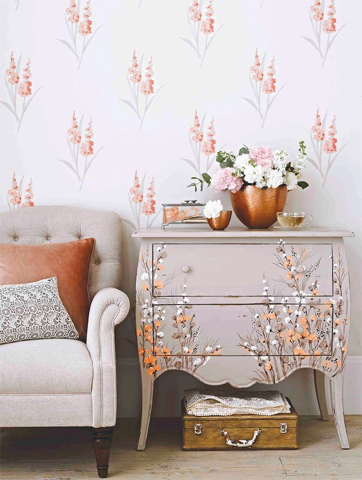 Such a pretty upcycle ... chest of drawers painted to match wallpaper.