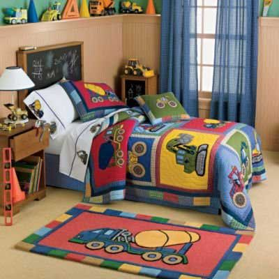 Construction Theme Bedroom Ideas | Bedding for Kids Bedroom Decor Images.  Construction Equipment Bedding .