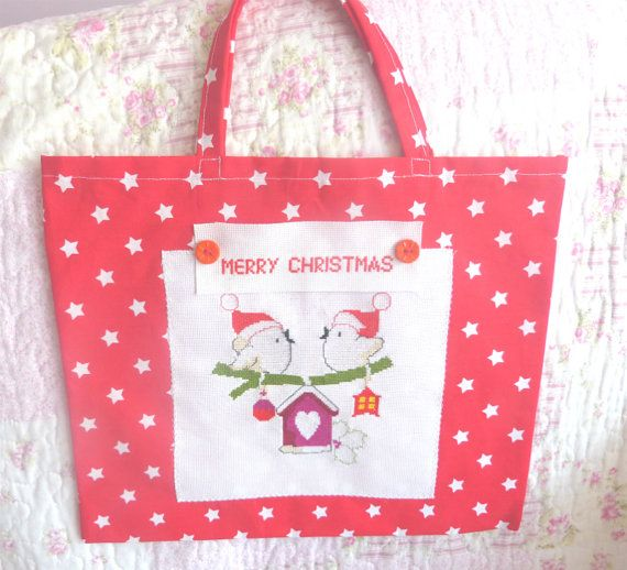 Bird Bag Christmas Embroidered Christmas by CrossStitchElizabeth