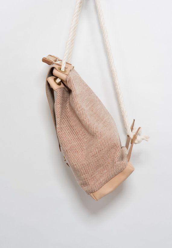 Minimal Nude Backpack Vegetable Leather Bag Maple by noemiah