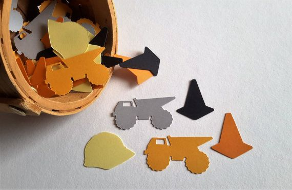 Construction Birthday Party Confetti 50 Ct. Trucks Helmet