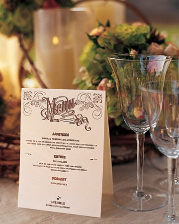 Put a few menu cards propped up around the table rather than one at each setting