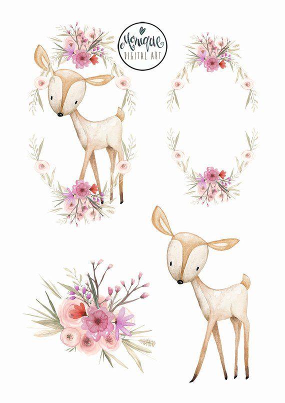 Deer wreath crown clipart, Woodland watercolor clipart, Nursery, Pattern, planner stickers, planner girl, watercolor, hand painted