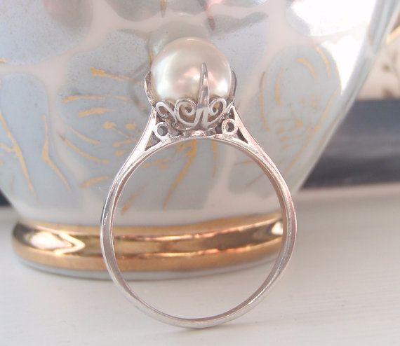 I love the filigree...    Rare Vintage Mikimoto Pearl and Sterling by SweetHeirloomVintage, $540.00