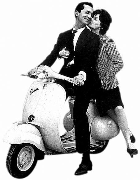 Lucia Bose and Luis Miguel Dominguin on a Vespa