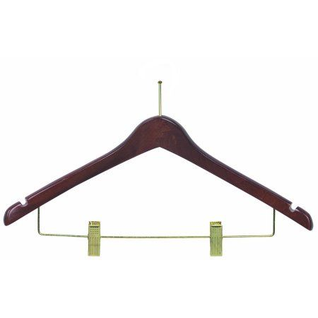 International Hanger Wooden Curved Combo Hanger, Walnut Finish with Brass Hardware, Box of 100