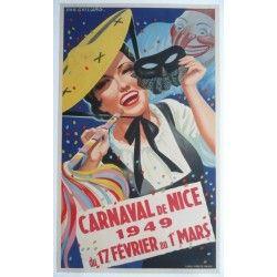 Affiche originale Carnaval de Nice 1949 - Emmanuel GAILLARD