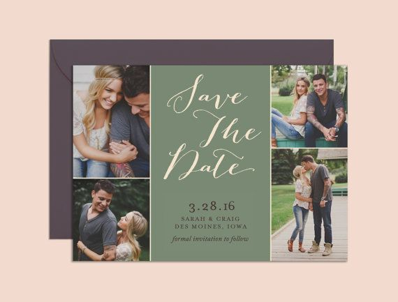 save the date photo collage save the date invitation printable
