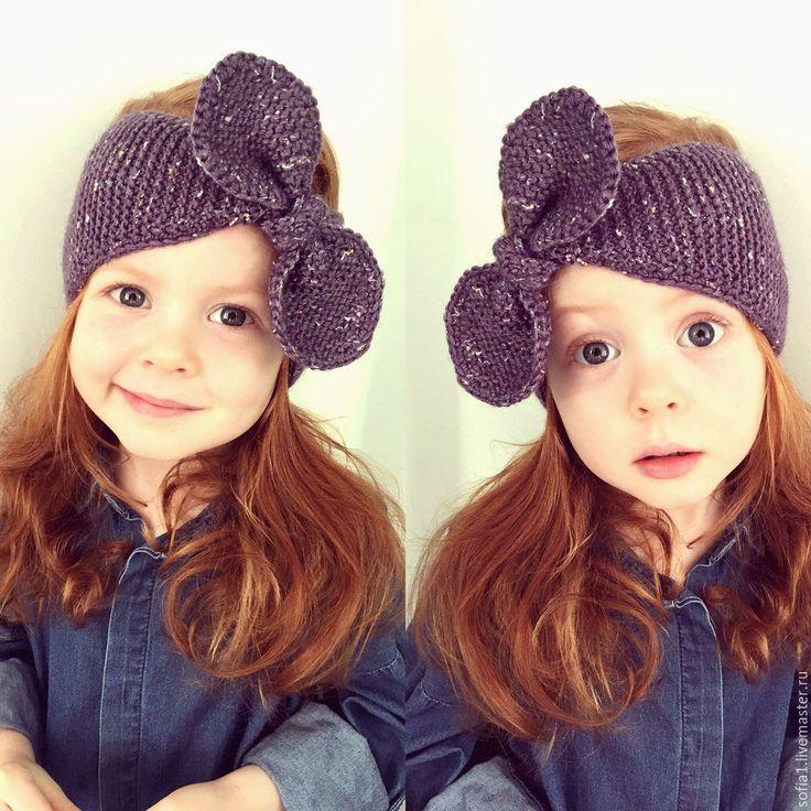 Купить Вязанная повязка на голову для девочки - фиолетовый, повязка на голову, повязка для девочки, вязанная повязка