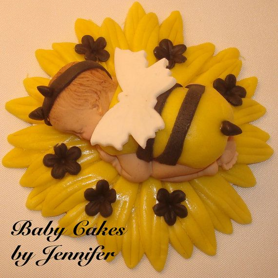 Fondant Ba-Bee Cake Topper BABY CAKE TOPPER baby shower first birthday bumble bee flower decorations favors edible toppers