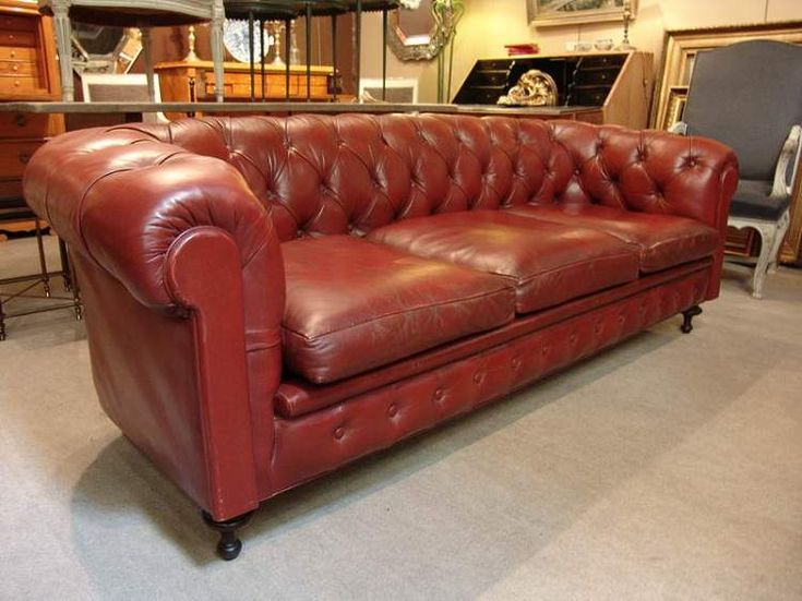 1950 French Vintage Leather Chesterfield Sofa