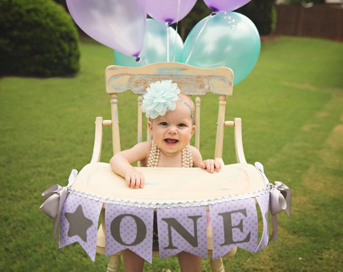 1er anniversaire fille une bannière de chaise haute / 1er anniversaire bannière / haute chaise fille d'anniversaire bannière / premier / chaise haute bandeau fille