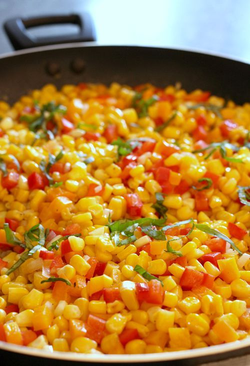 You can use leftover cooked corn or fresh corn from the cob to make this amazing Fresh Corn Succotash!