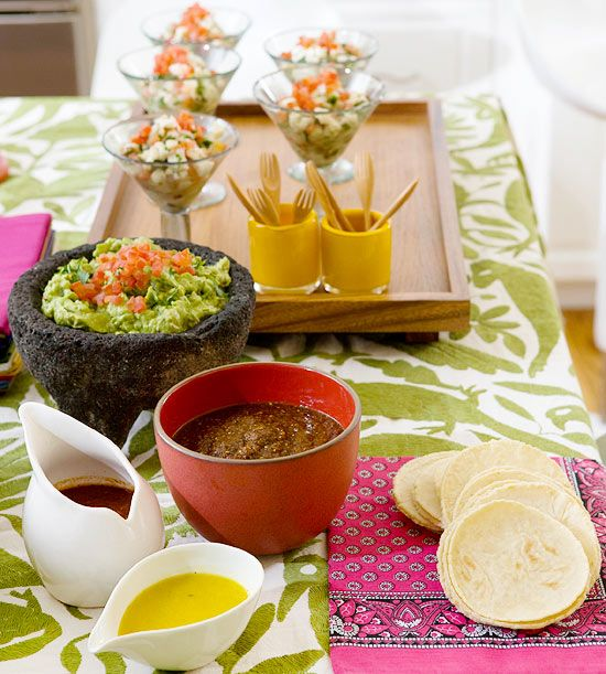 A Cinco de Mayo buffet is a simple way to keep with the party's casual tone: http://www.bhg.com/holidays/mothers-day/recipes/host-a-cinco-de-mayo-celebration/?socsrc=bhgpin040615tastyappetizersalad&page=7