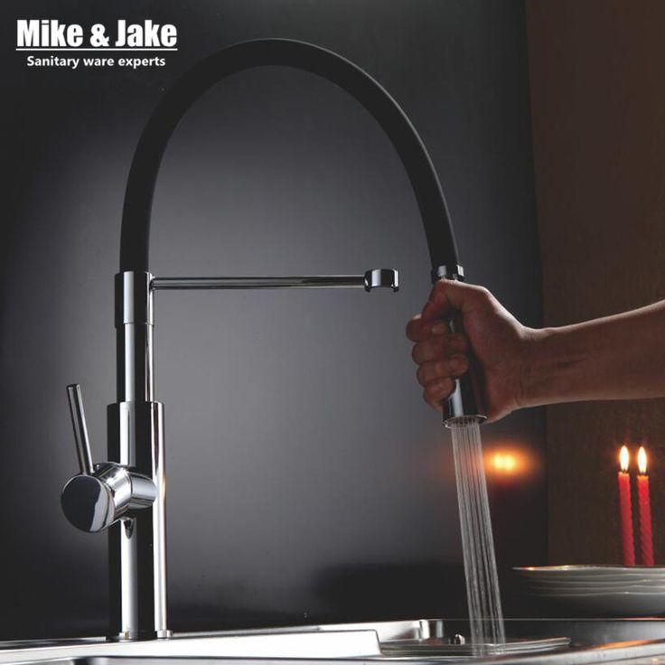 Новый черный кухня водопроводной воды тянуть вниз смеситель для кухни раковина кран вытащить краны для мойки краны горячей и холодной Кухня смесители MJ907 купить в магазине Victory Top Sanitary Ware на AliExpress