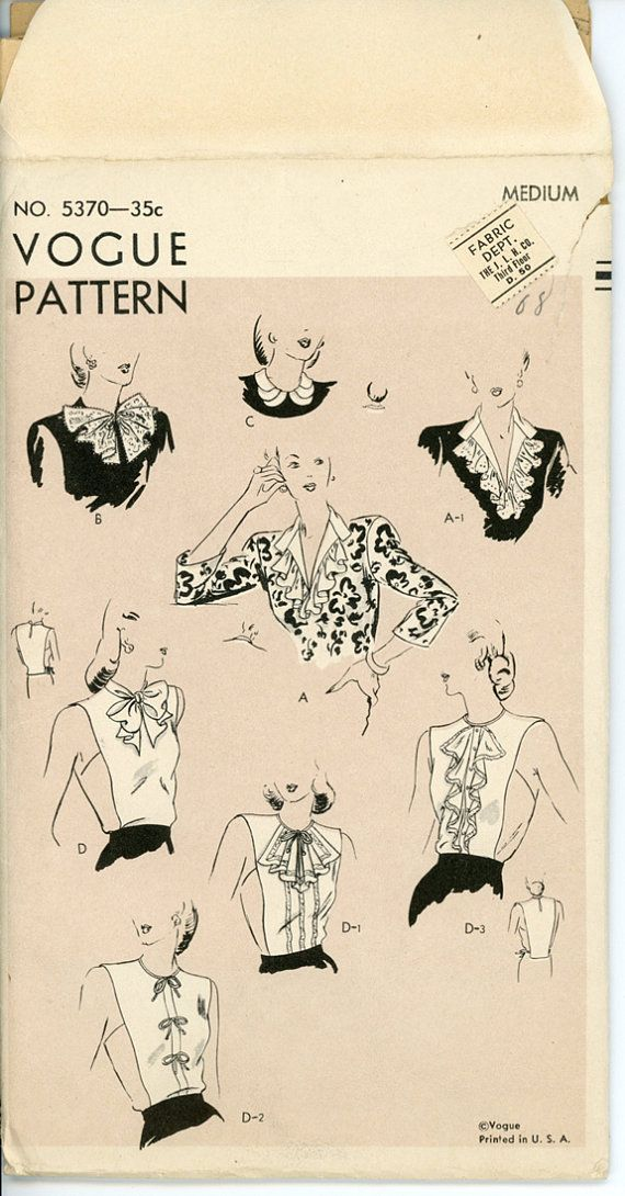 1940s Dickeys and Collars Pattern Vogue 5370 Bust by CynicalGirl