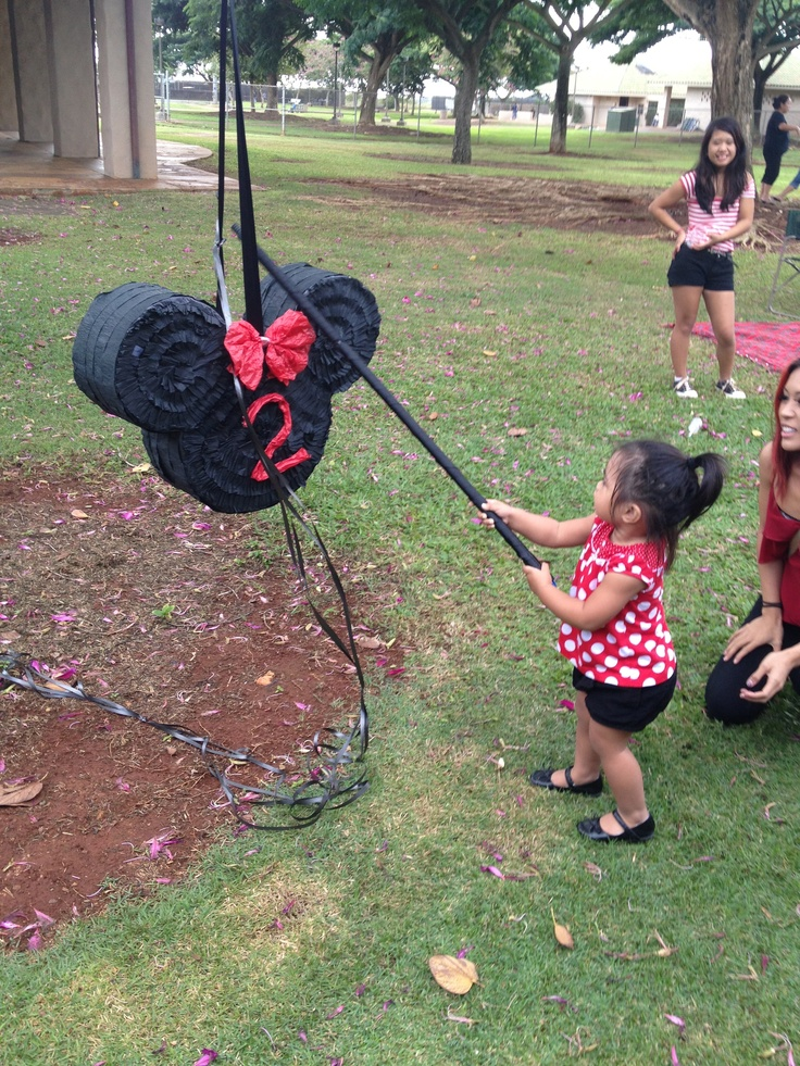Homemade Minnie Mouse Pinata for Aleigha's 2nd Birthday Party