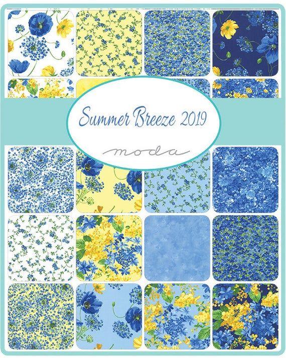 Moda Summer Breeze 2019-33444 14 Sky Small Flower Bouquet  Cotton